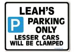 LEAH'S Personalised Parking Sign Gift | Unique Car Present for Her |  Size Large - Metal faced